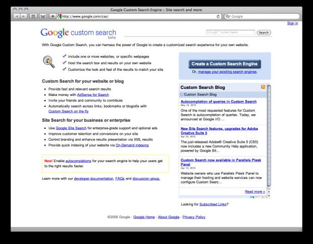 Google custom search thesis