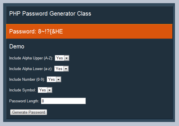 random generated password in php