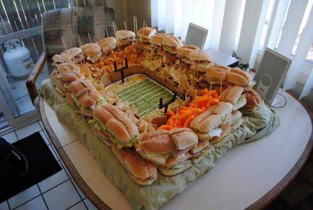 super bowl food football stadium decorations
