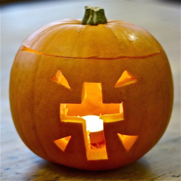 pumpkin carving christian cross