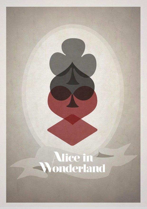 minimal disney movie poster alice in wonderland
