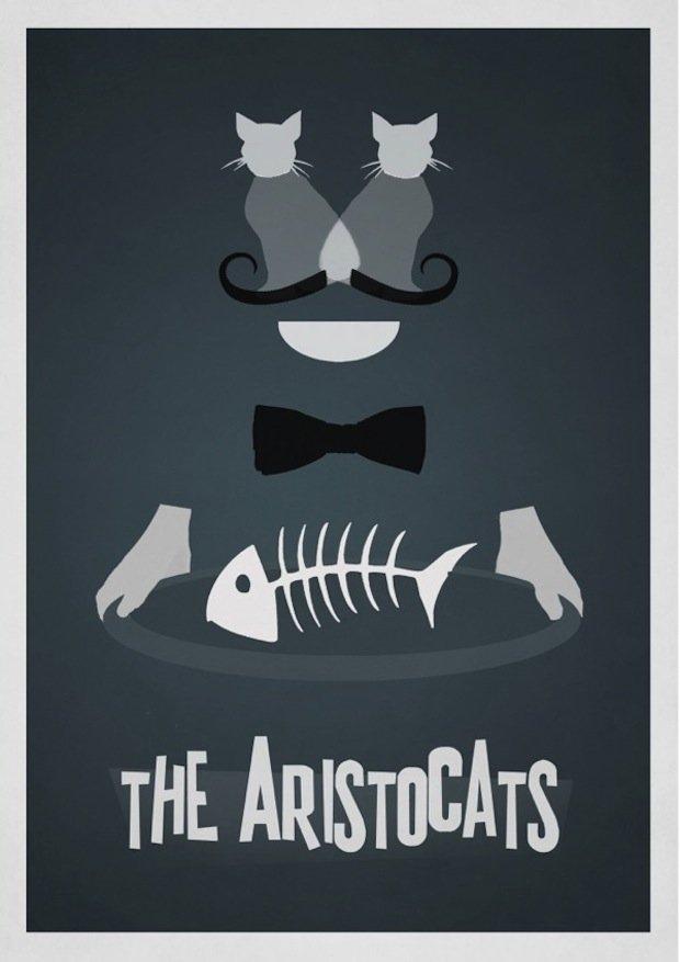 minimal disney movie poster aristocats