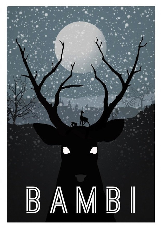 minimal disney movie poster bambi