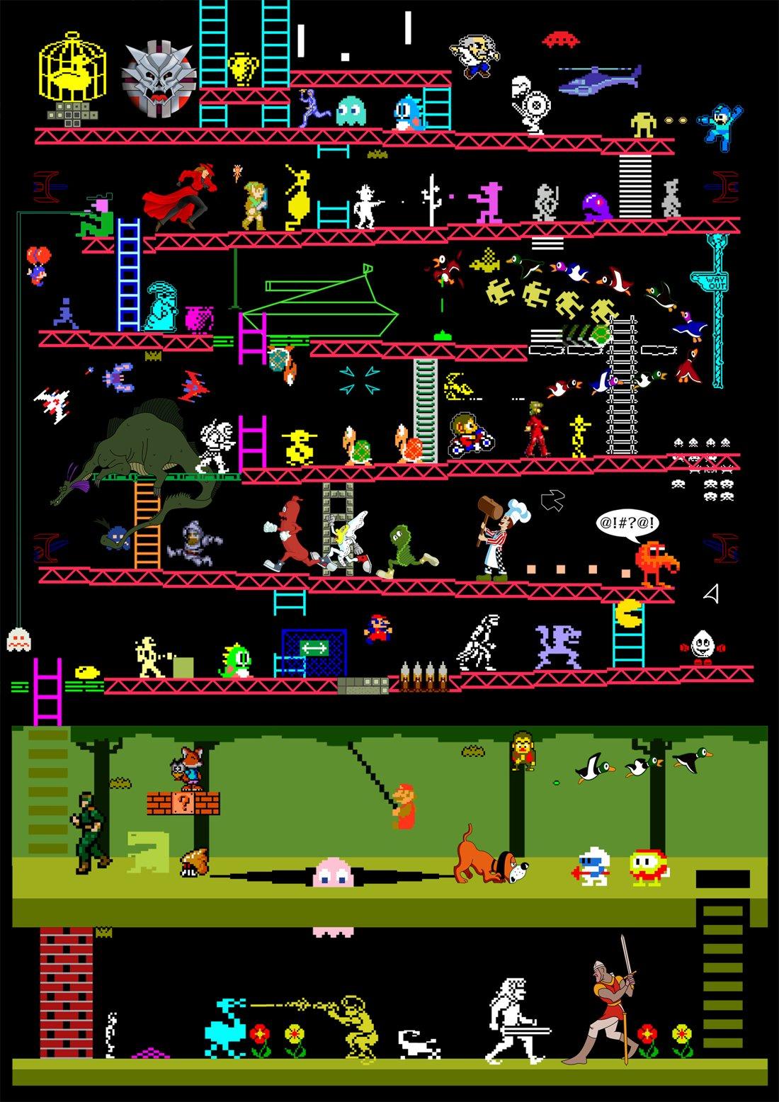 50 Retro Video Game Classics In One Illustration - ChurchMag
