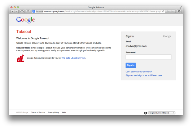 Google Takeout Sign In