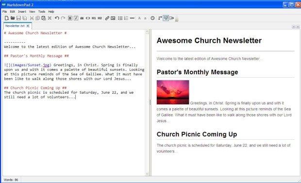 MarkdownPad 2: Smart Tool for Markdown - ChurchMag
