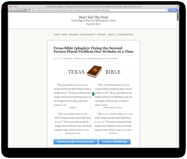 john dyer texas bible plugin