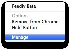 Feedly Check Chrome Menu