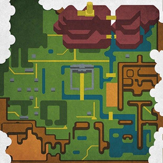 minimal art video game maps