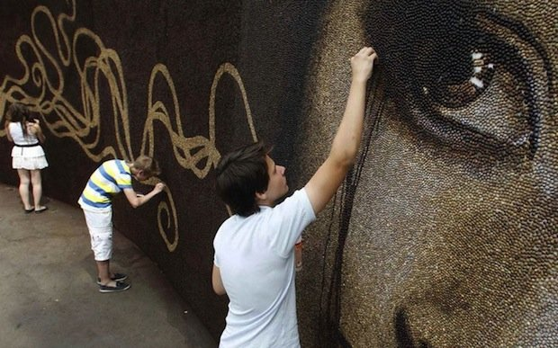 Mural Created with One Million Coffee Beans