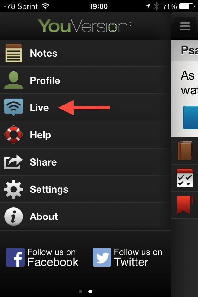 The Live option in YouVersion for iPhone