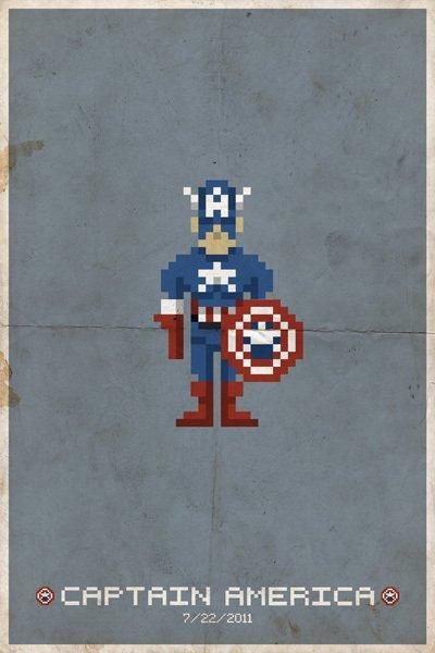 8Bit Heros - Captain America