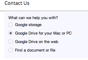Google Drive Contact Us Options