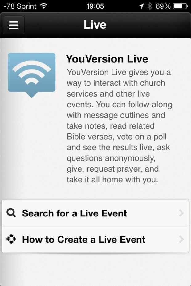 Search from Phone YouVersion Live Events
