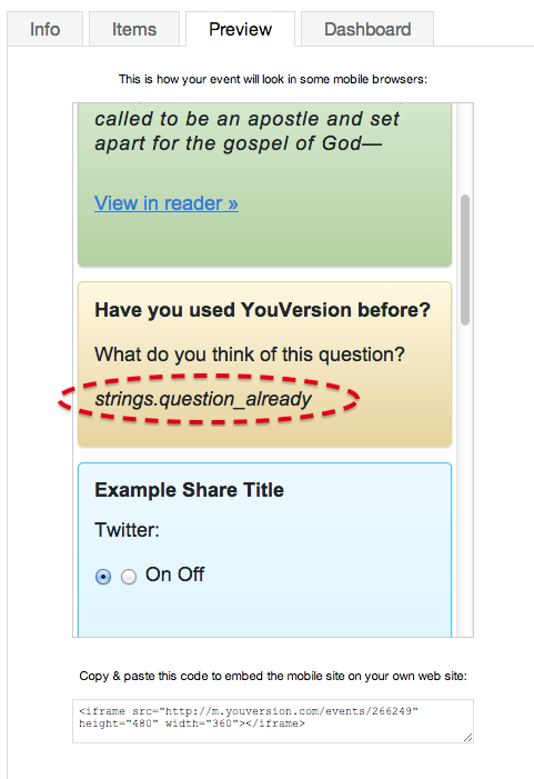 unfriendly code errors in preview for YouVersion Live Events