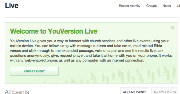 Welcome to YouVersion live. The website interface is where you create events (you can't do it from the phone).