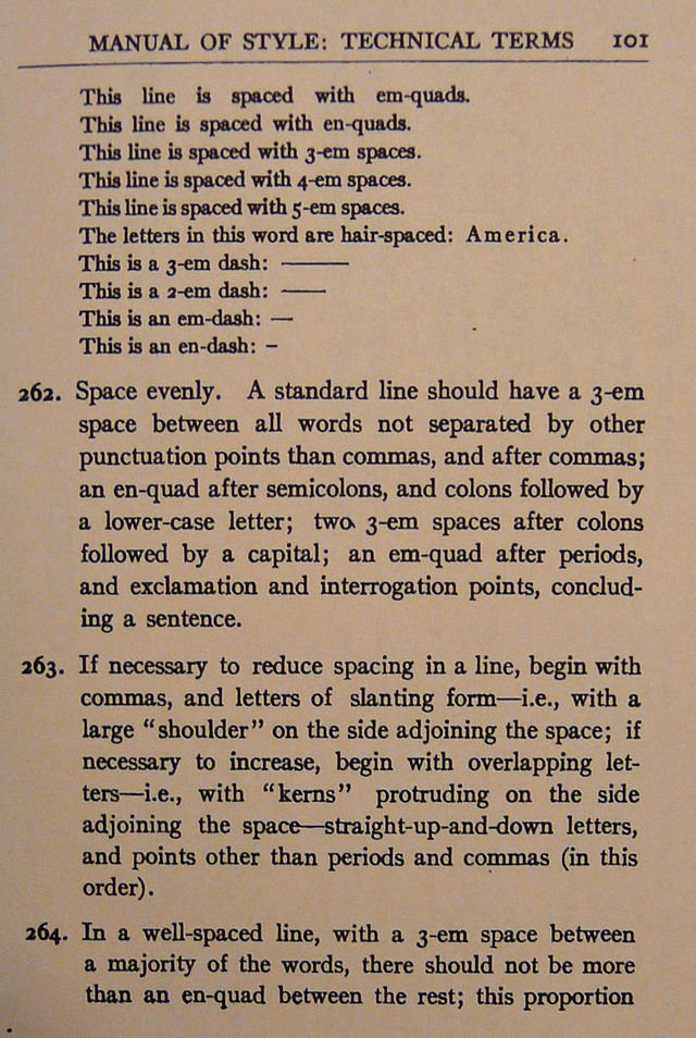A page from the Chicago Manual of Style from 1911, where double spacing after a period was the standard (or em-quads as they called it)