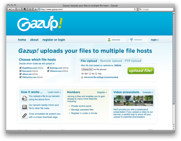 Use Gazup to Upload Files to Mirrored, Multiple Hosts