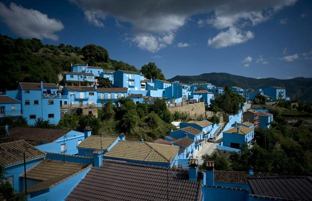 Entire Spanish Village Painted Blue for Smurf Movie Promo