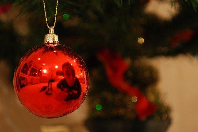 red Christmas tree ball