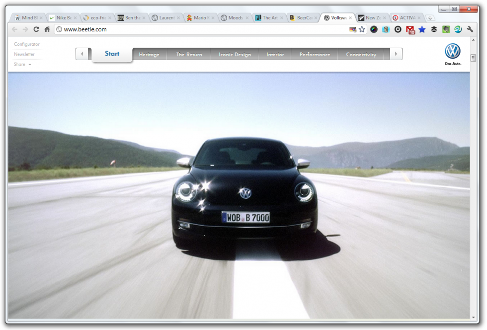 parallax scrolling beetle bug volkswagen vw