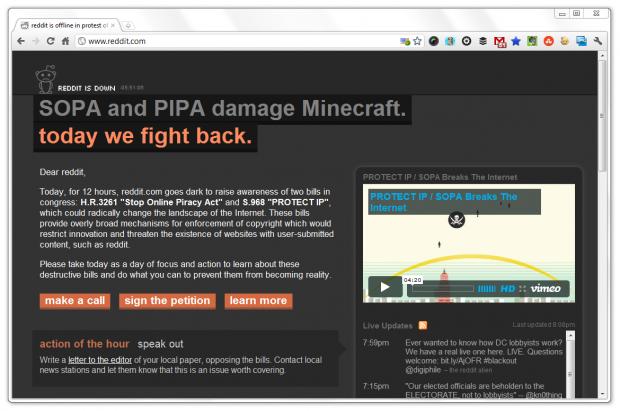 Reddit SOPA Page