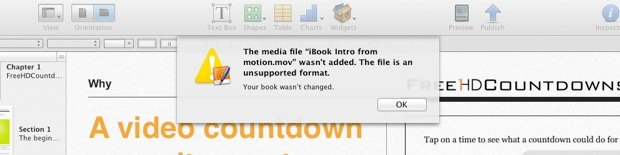 Unsupported File Format for iBooks Author