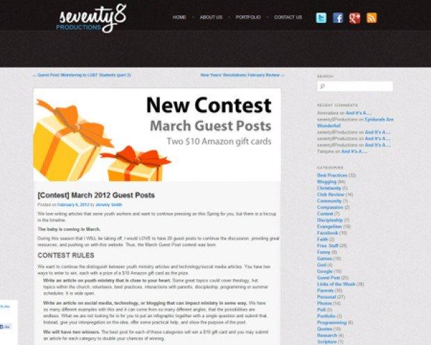 Seventy8 Productions Guest Post Contest