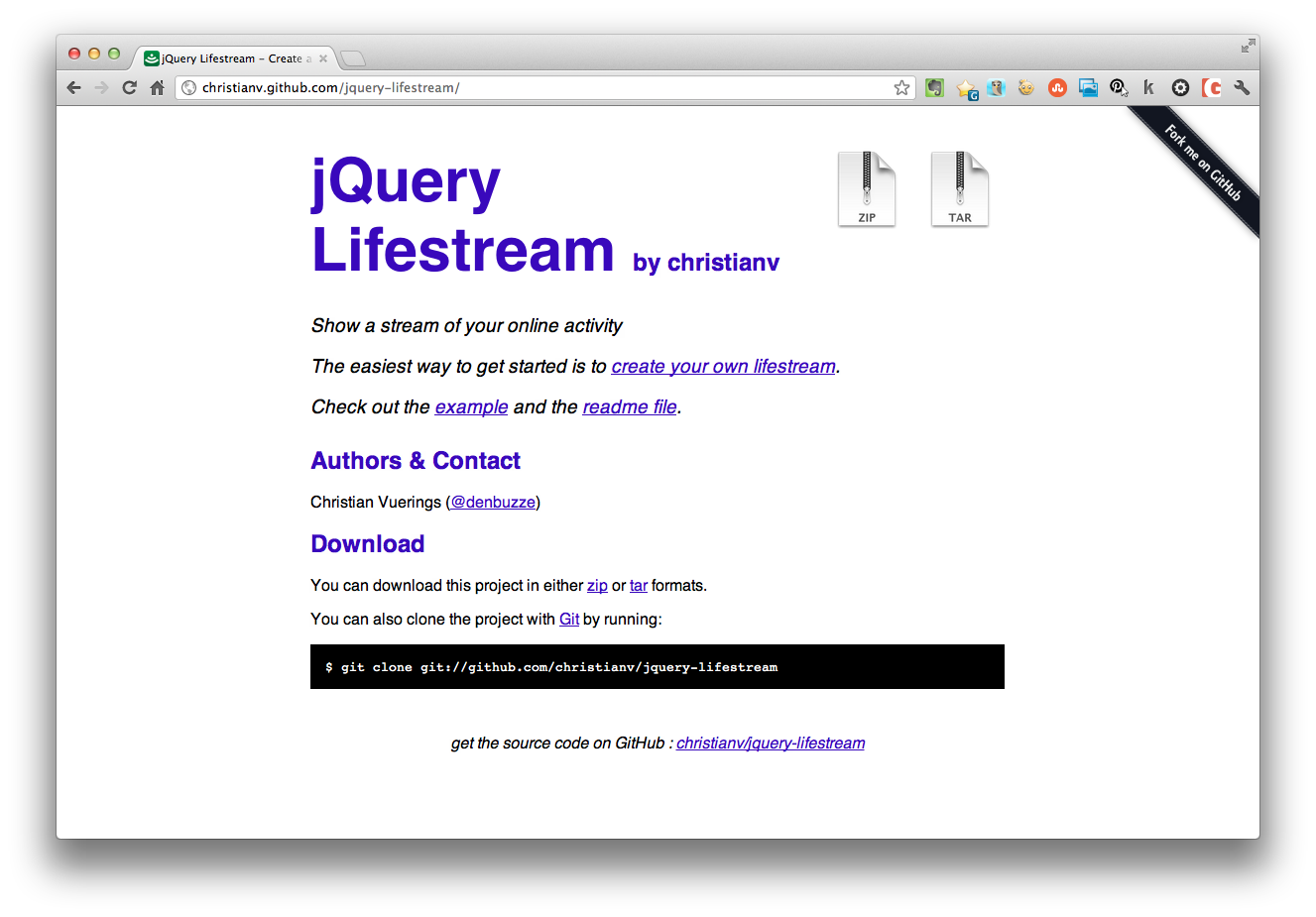 jquery lifestream social feed plugin