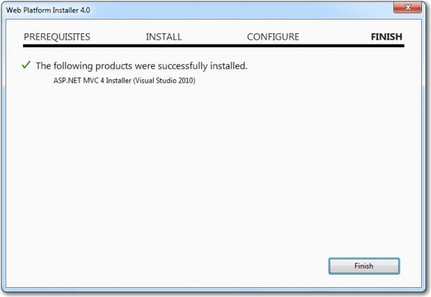 Web API Install Finished