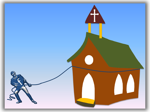 Facebook man pulling a Church building