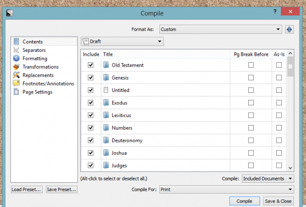 Compiling and exporting your Scrivener Bible Study