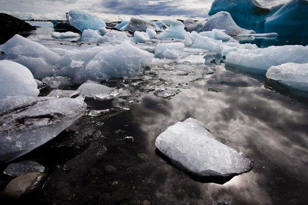 ice glacier melting water river snow