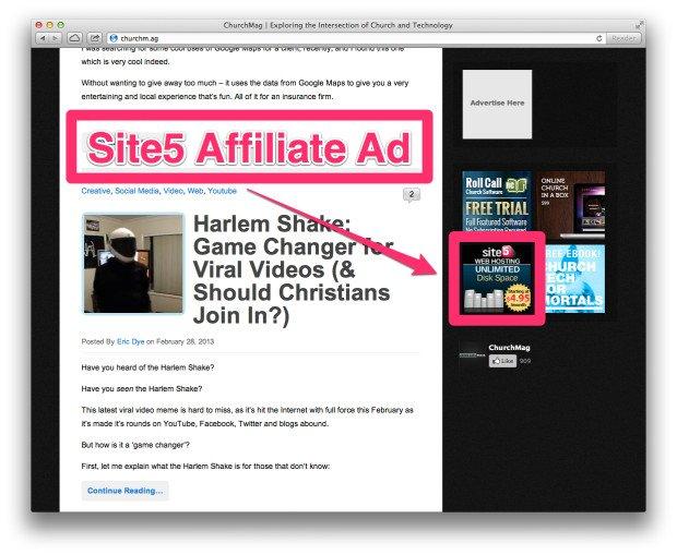 Affiliate Ad Screenshot