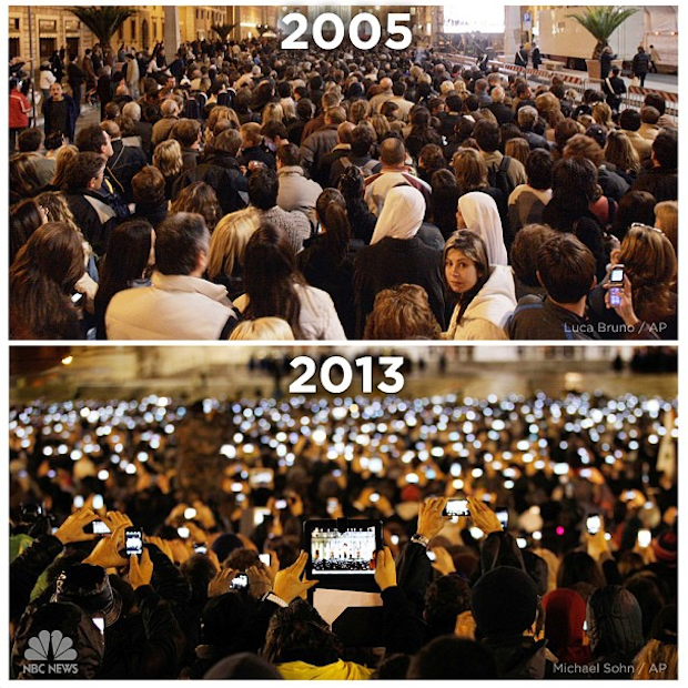 Compare & Contrast: St. Peter's Square in 2005 and 2013