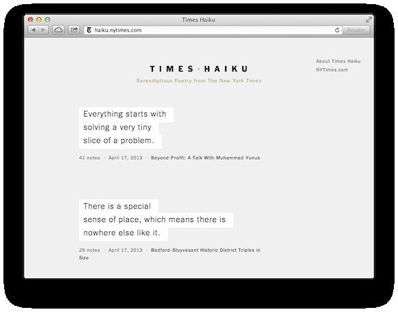 Haiku Time with Times Haiku