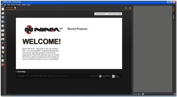 ninja-ide start page