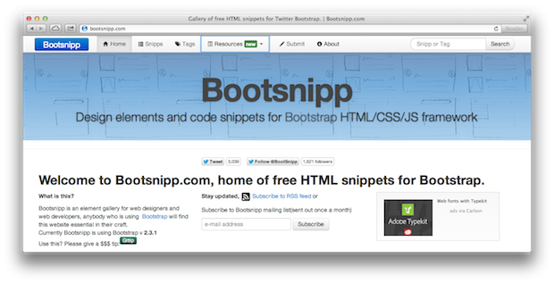 twitter bootstrap snippets