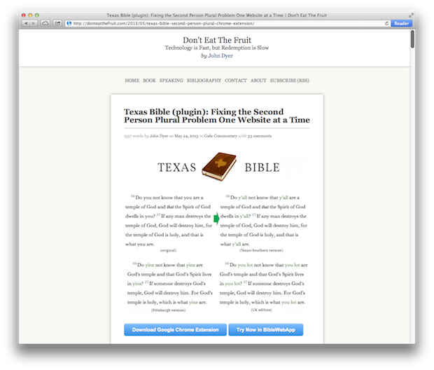 Y'all Should Get the Texas Bible Plugin by John Dyer