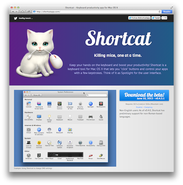Shortcut App for the Mac