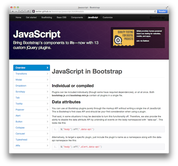 Bootstrap Javascript Screenshot