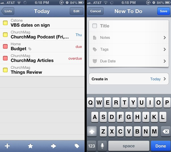 Two screens from the iOS app.