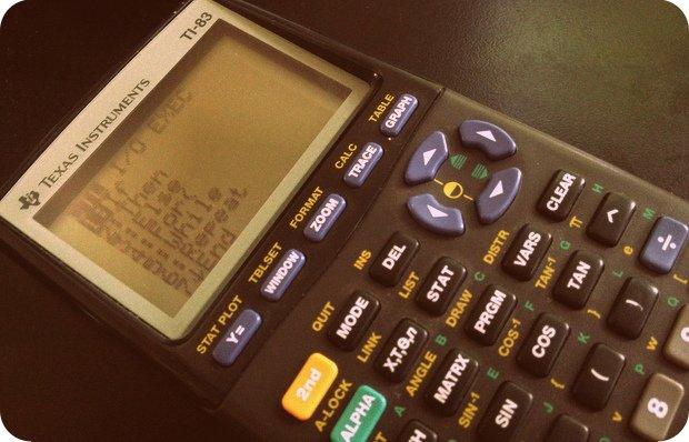 My TI-83 calculator (still had it!). Couldn't find my TI-82