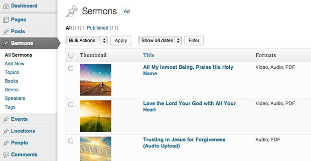 This shows the Church Theme Content plugin's sermon management capabilities.