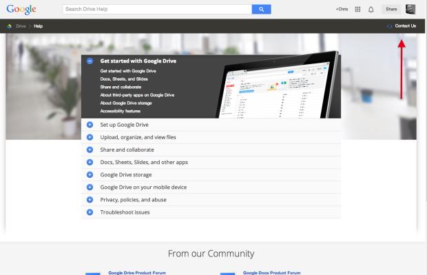 Contact Us link at Google Drive Help