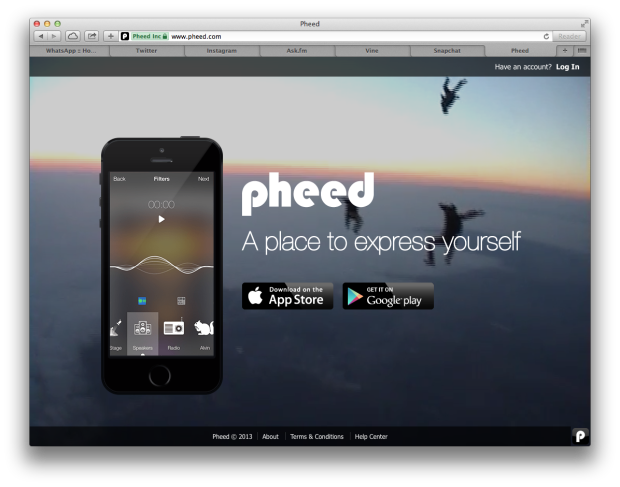 Pheed Website Screenshot