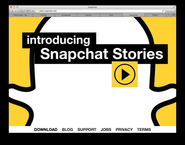Snapchat Website Screenshot