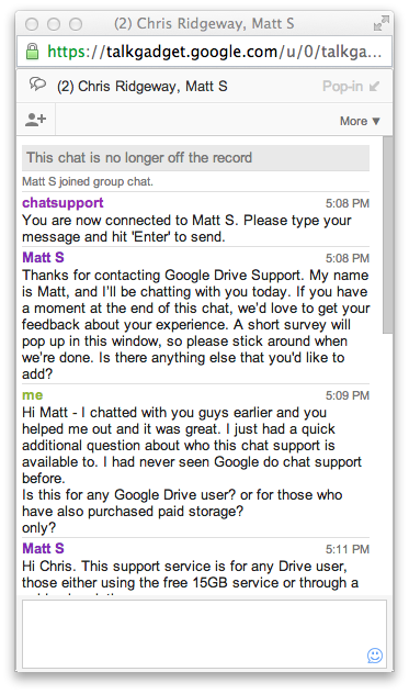 Live Chat Window Google Drive Support