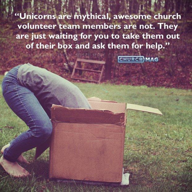 church volunteer team members unboxing