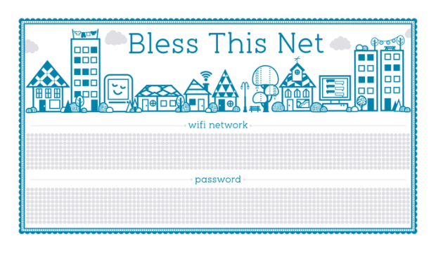BLESS THIS NET Letterpress Print for Your WiFi Credentials 2